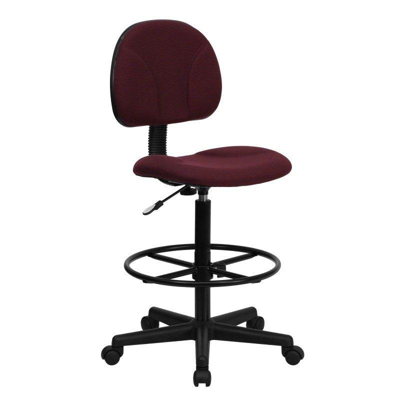 Flash Furniture Burgundy Fabric Ergonomic Drafting Chair (Adjustable Range 22.5''-27''H or 26''-30.5''H)