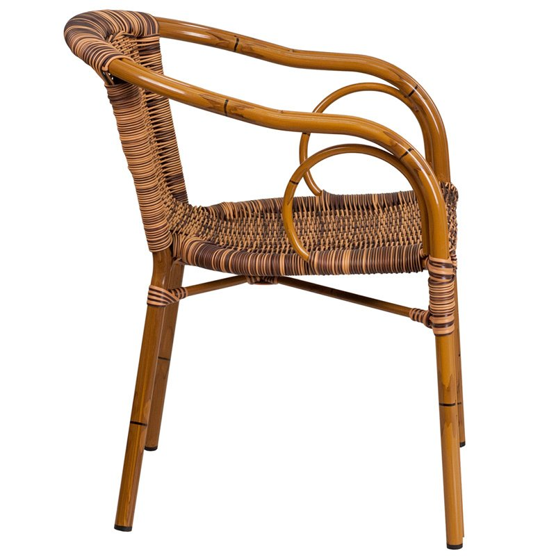 Flash Furniture Cadiz Series Burning Brown Rattan Restaurant Patio Chair with Dark Red Bamboo-Aluminum Frame (SDA-AD632009D-1-GG)