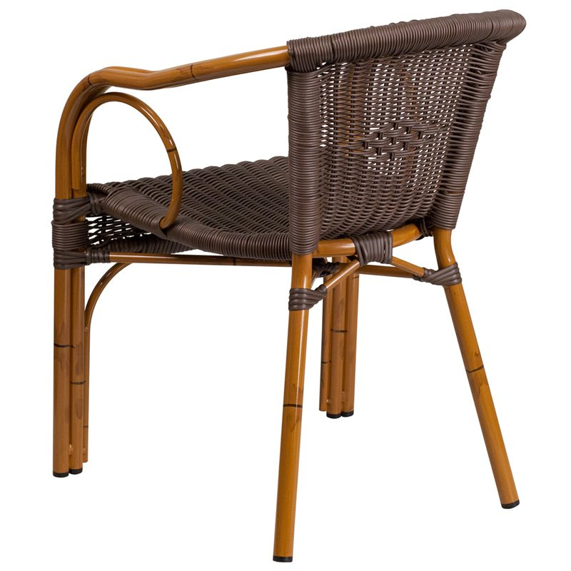 Flash Furniture Cadiz Series Dark Brown Rattan Restaurant Patio Chair with Red Bamboo-Aluminum Frame (SDA-AD632009D-2-GG)