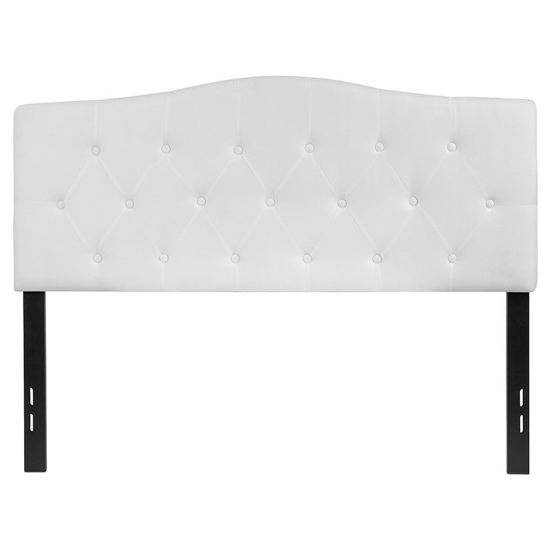 Flash Furniture Cambridge Tufted Upholstered Full Size Headboard in White Fabric (HG-HB1708-F-W-GG)