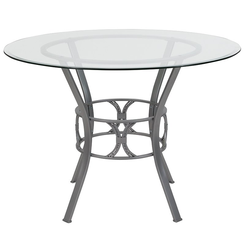 """Flash Furniture Carlisle 42"""" Round Glass Dining Table with Silver Metal Frame (XU-TBG-21-GG)"""