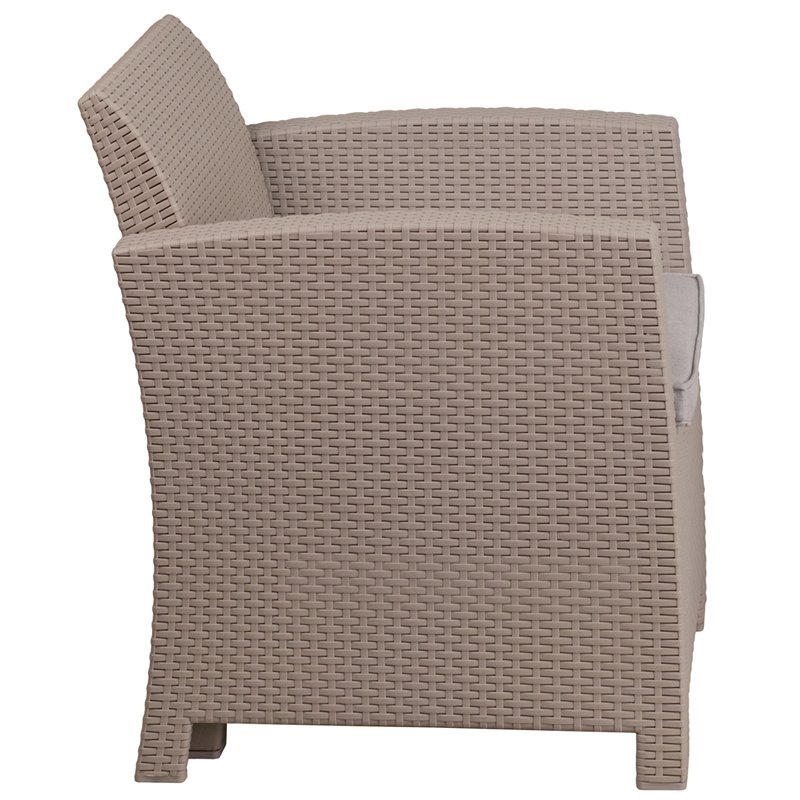 Flash Furniture Charcoal Faux Rattan Chair with All-Weather Light Gray Cushion (DAD-SF2-1-GG)