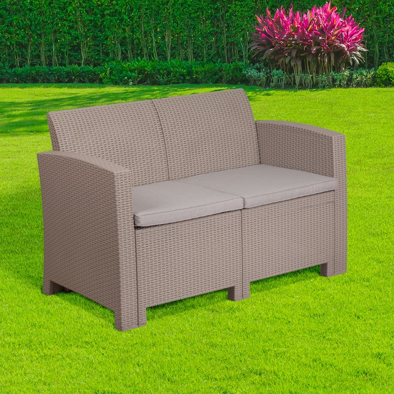 Flash Furniture Charcoal Faux Rattan Loveseat with All-Weather Light Gray Cushions (DAD-SF2-2-GG)