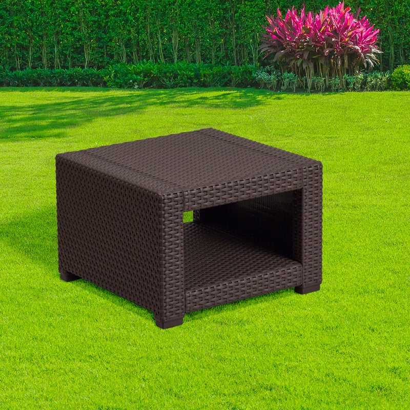 Flash Furniture Chocolate Brown Faux Rattan End Table (DAD-SF1-S-GG)