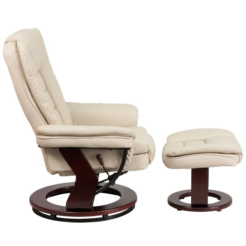 Flash Furniture Contemporary Beige-Leather Recliner and Ottoman with Swiveling Mahogany Wood Base