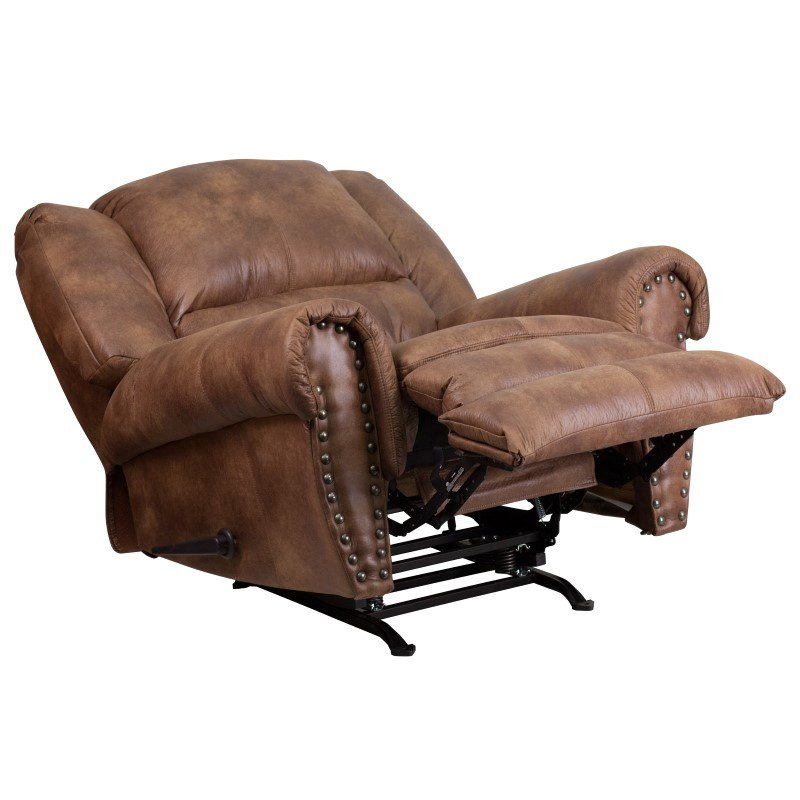 Flash Furniture Contemporary' Breathable Comfort Padre Almond Fabric Rocker Recliner with Brass Accent Nails