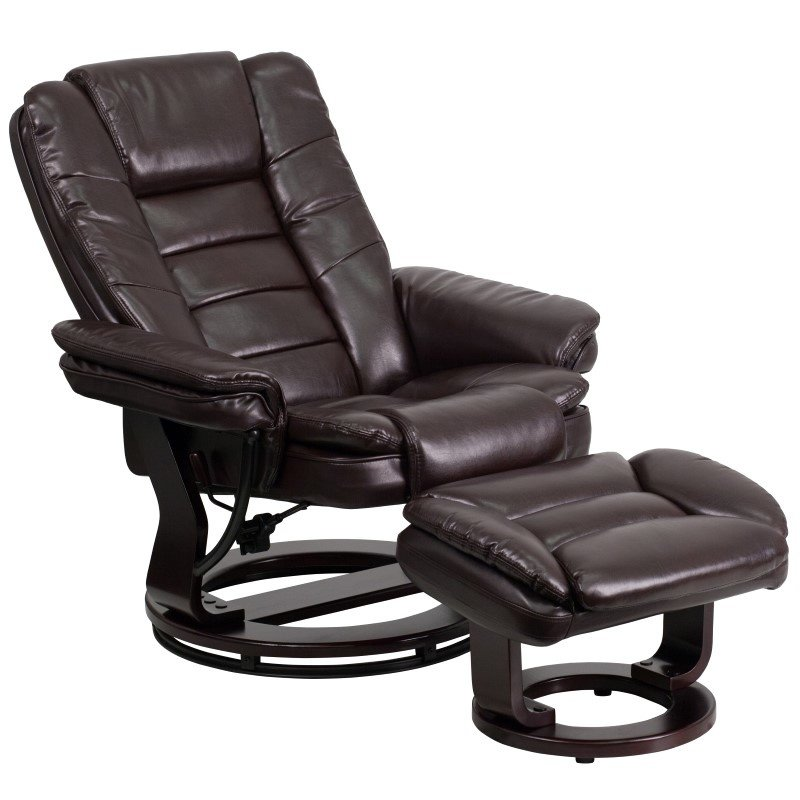 Flash Furniture Contemporary Brown Leather Recliner and Ottoman with Swiveling Mahogany Wood Base