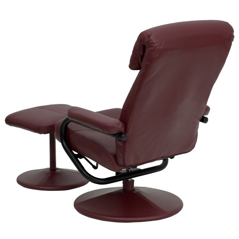 Flash Furniture Contemporary Burgundy Leather Recliner and Ottoman with Leather Wrapped Base