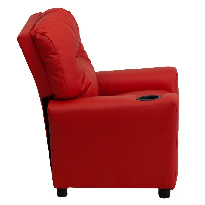 Flash Furniture Contemporary Red Vinyl Kids Recliner with Cup Holder