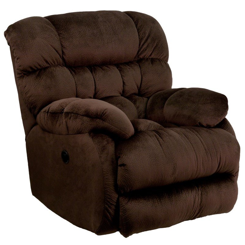 Flash Furniture Contemporary Sharpei Choco late Microfiber Power Recliner with Push Button