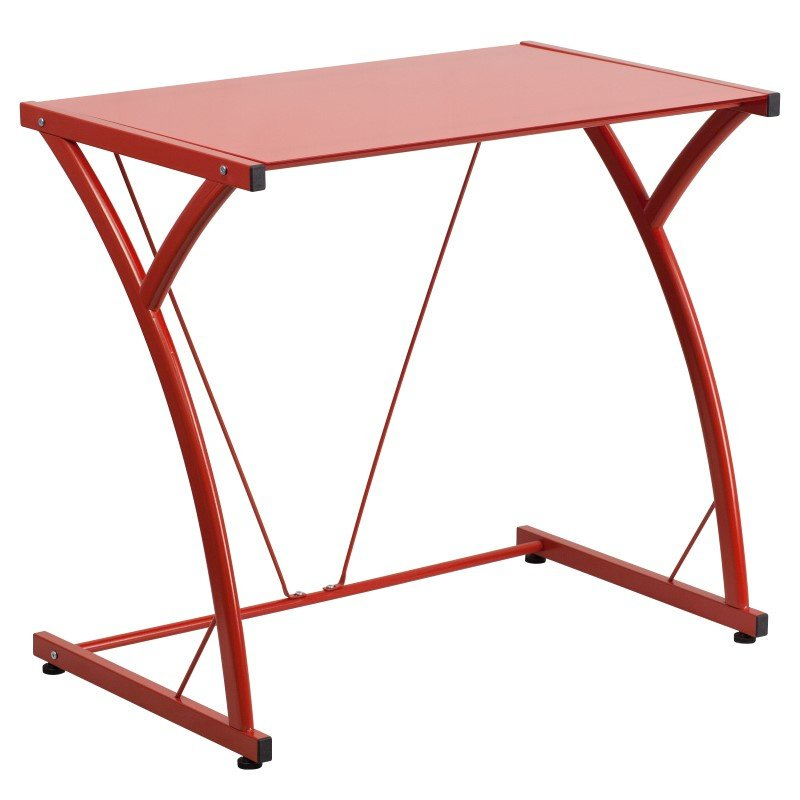 Flash Furniture Contemporary Tempered Red Glass Computer Desk with Matching Frame