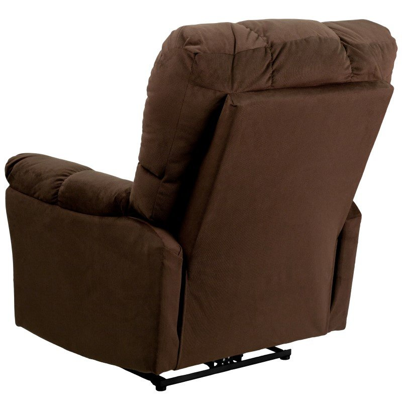 Flash Furniture Contemporary Top Hat Chocolate Microfiber Power Recliner with Push Button