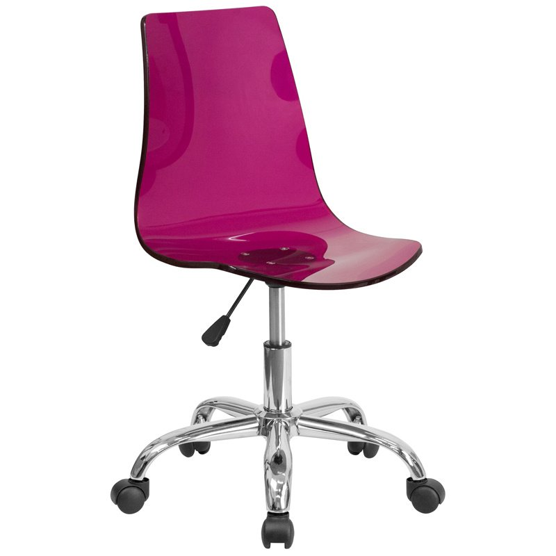 Flash Furniture Contemporary Transparent Purple Acrylic Task Chair with Chrome Base