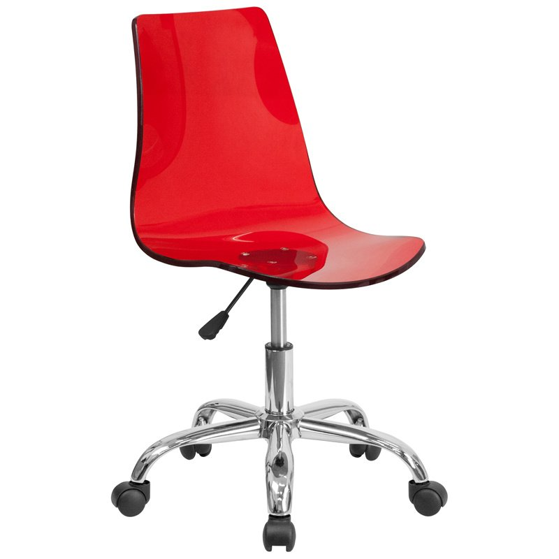 Flash Furniture Contemporary Transparent Red Acrylic Task Chair with Chrome Base