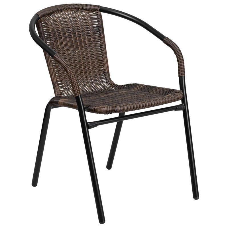 Flash Furniture Dark Brown Rattan Indoor-Outdoor Restaurant Stack Chair (TLH-037-DK-BN-GG)