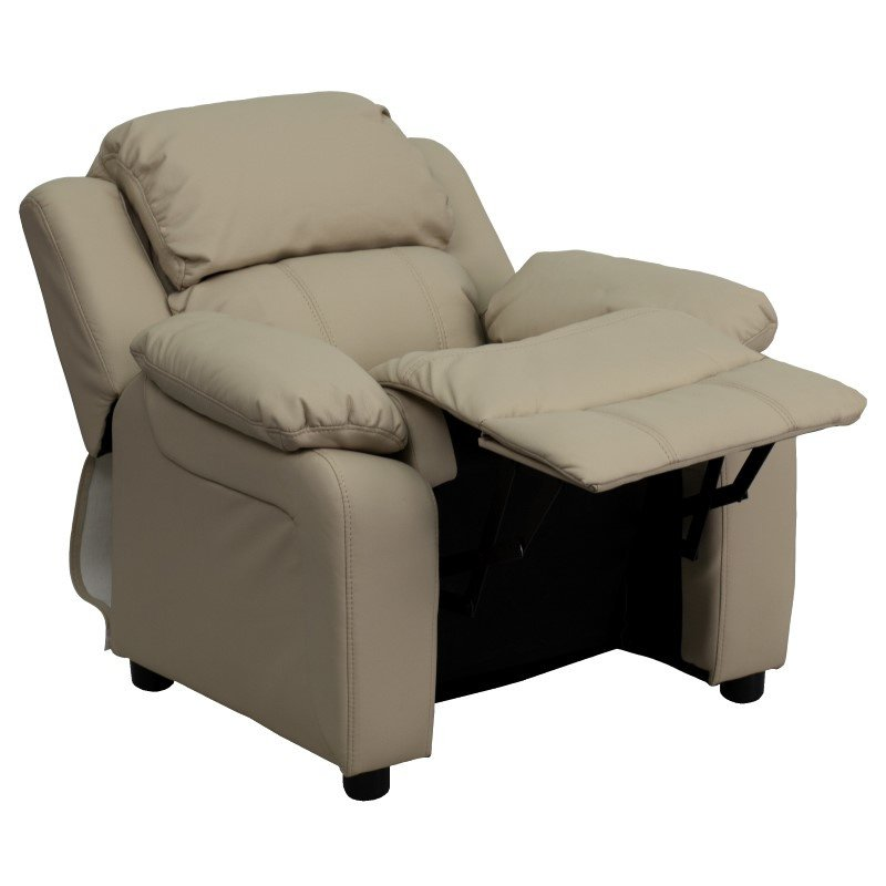 Flash Furniture Deluxe Padded Contemporary Beige Vinyl Kids Recliner with Storage Arms