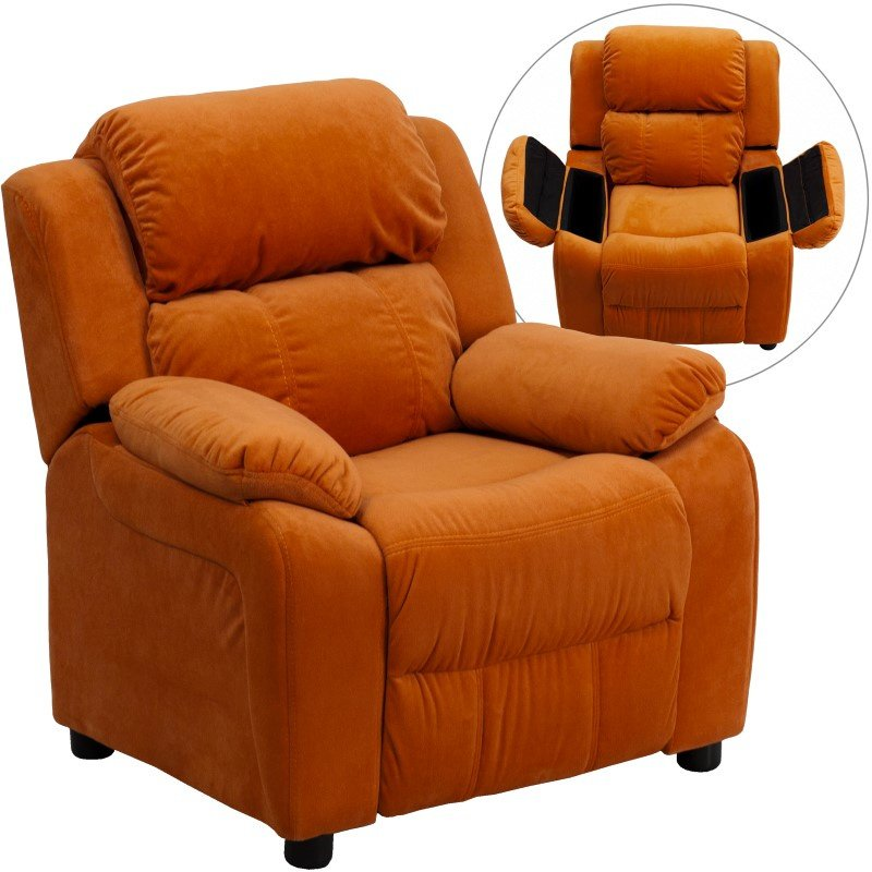 Flash Furniture Deluxe Padded Contemporary Orange Microfiber Kids Recliner with Storage Arms
