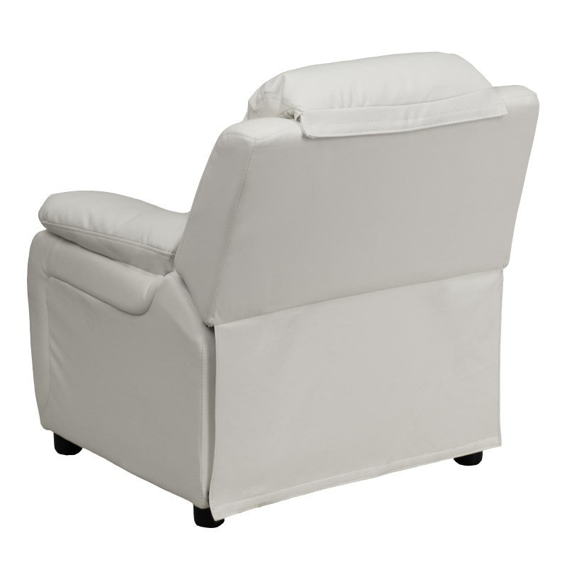 Flash Furniture Deluxe Padded Contemporary White Vinyl Kids Recliner with Storage Arms