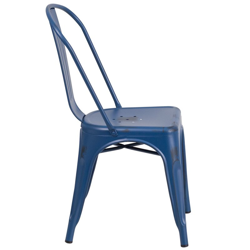 Flash Furniture Distressed Antique Blue Metal Indoor-Outdoor Stackable Chair (ET-3534-AB-GG)