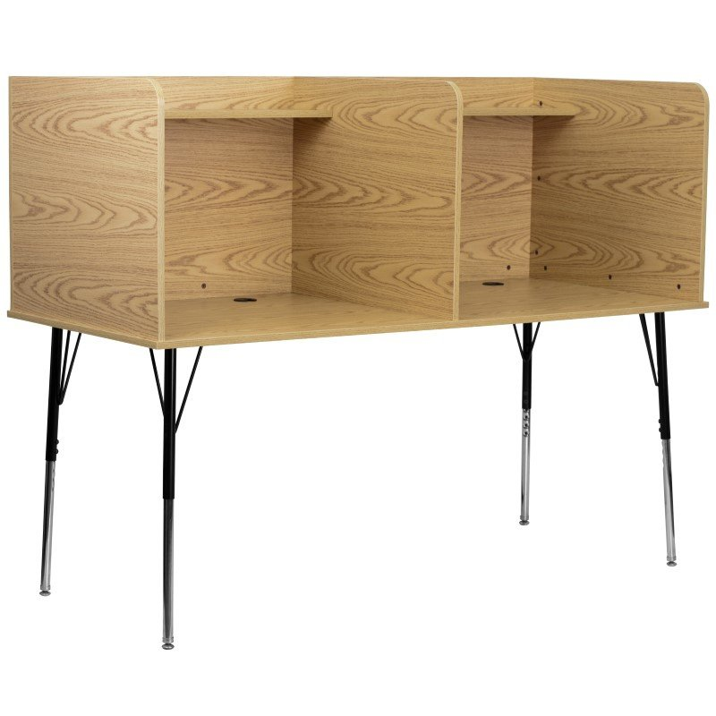 Flash Furniture Double Wide Study Carrel with Adjustable Legs and Top Shelf in Oak Finish