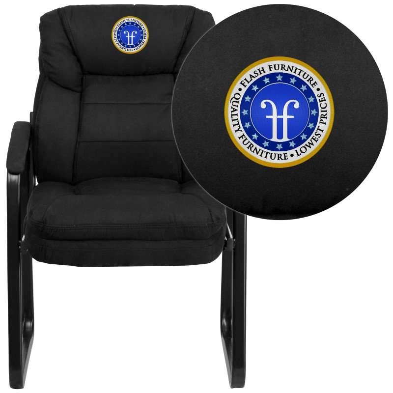 Flash Furniture Embroidered Black Microfiber Executive Side Chair with Sled Base