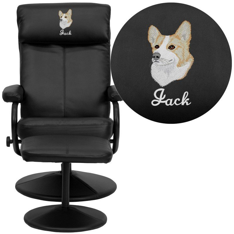 Flash Furniture Embroidered Contemporary Black Leather Recliner and Ottoman with Leather Wrapped Base