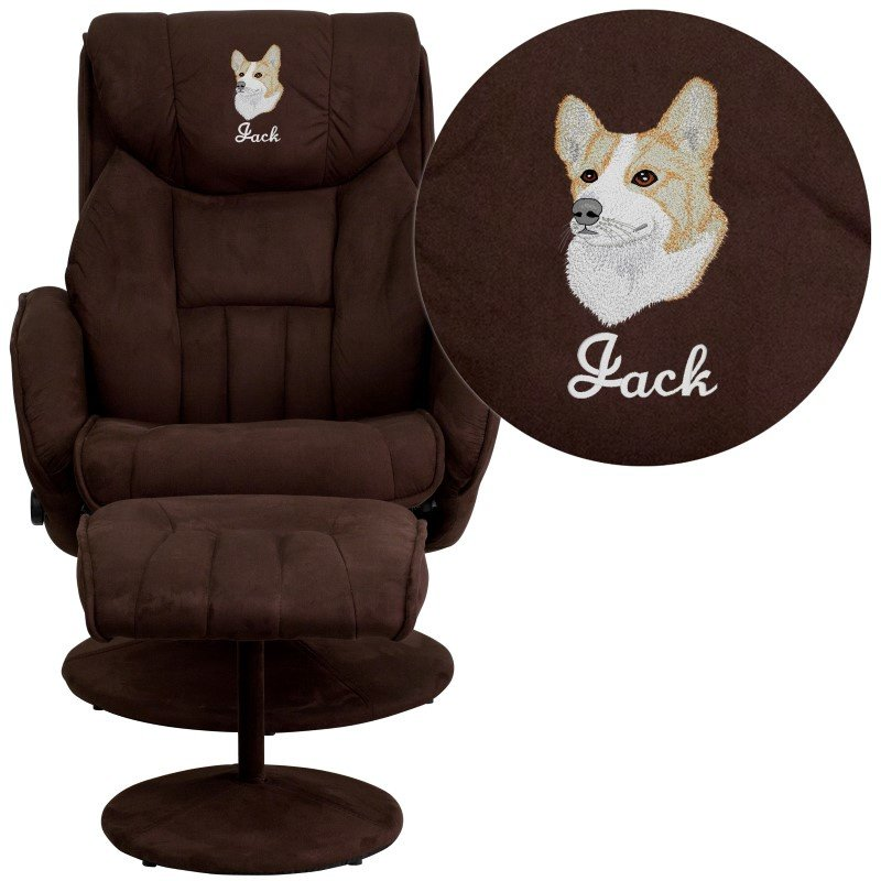 Flash Furniture Embroidered Contemporary Brown Microfiber Recliner and Ottoman with Circular Microfiber Wrapped Base