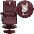 Flash Furniture Embroidered Contemporary Burgundy-Leather Recliner and Ottoman with Leather Wrapped Base