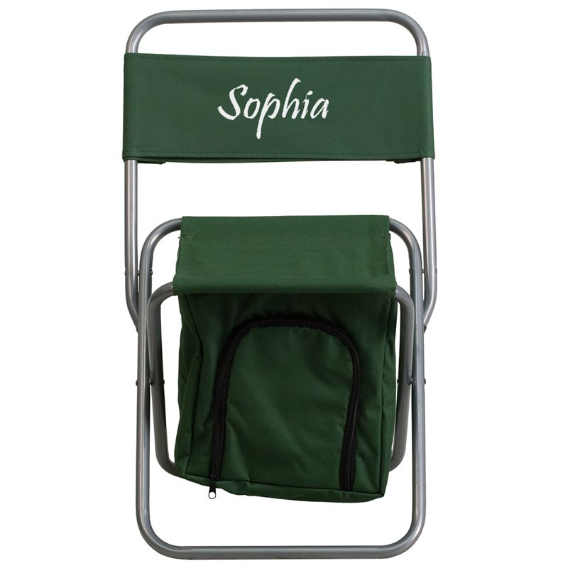Flash Furniture Embroidered Folding Camping Chair with Insulated Storage in Green (TY1262-GN-EMB-GG)