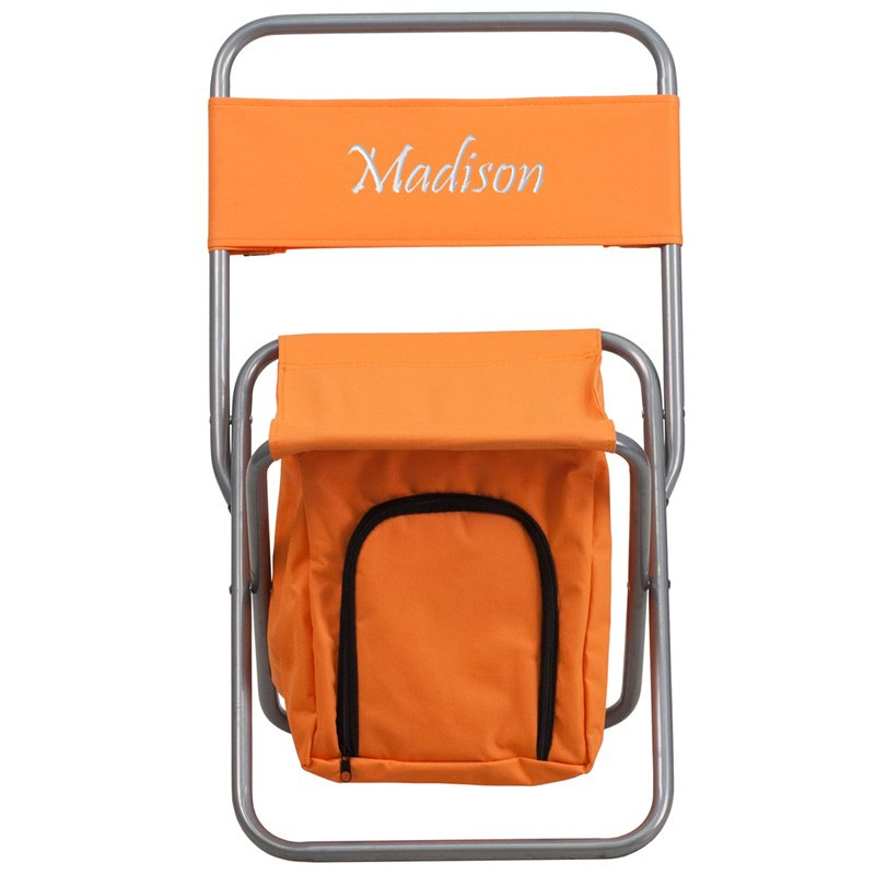 Flash Furniture Embroidered Folding Camping Chair with Insulated Storage in Orange (TY1262-OR-EMB-GG)