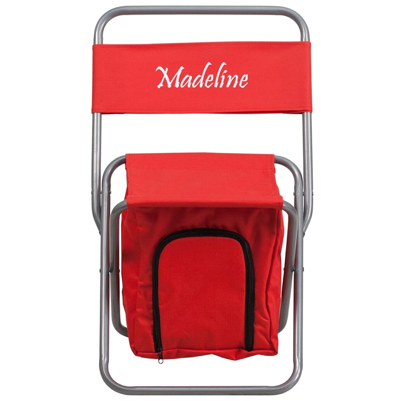 Flash Furniture Embroidered Folding Camping Chair with Insulated Storage in Red (TY1262-RED-EMB-GG)
