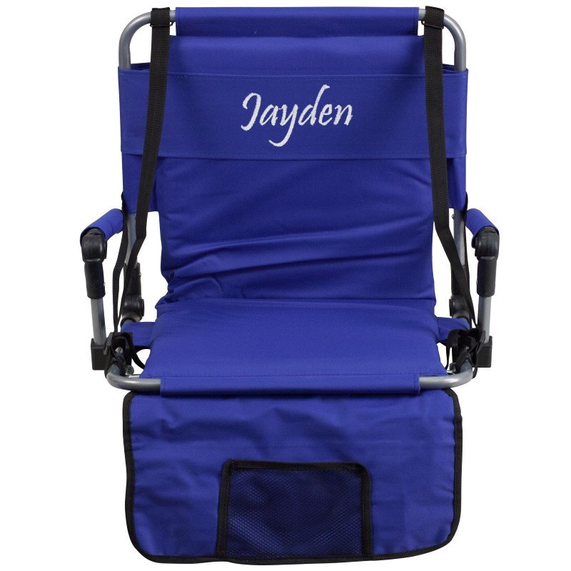 Flash Furniture Embroidered Folding Stadium Chair in Blue