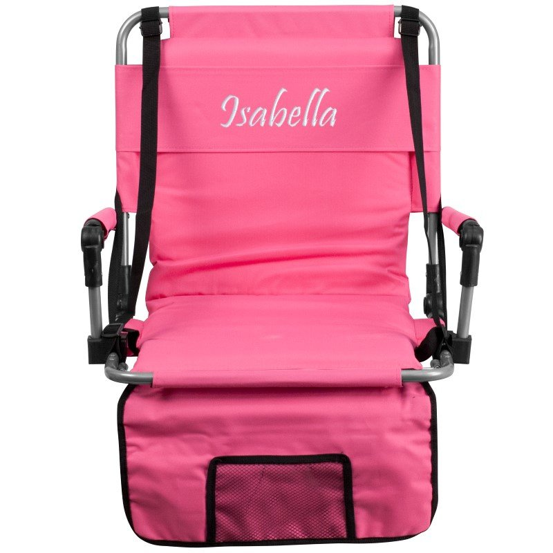 Flash Furniture Embroidered Folding Stadium Chair in Pink