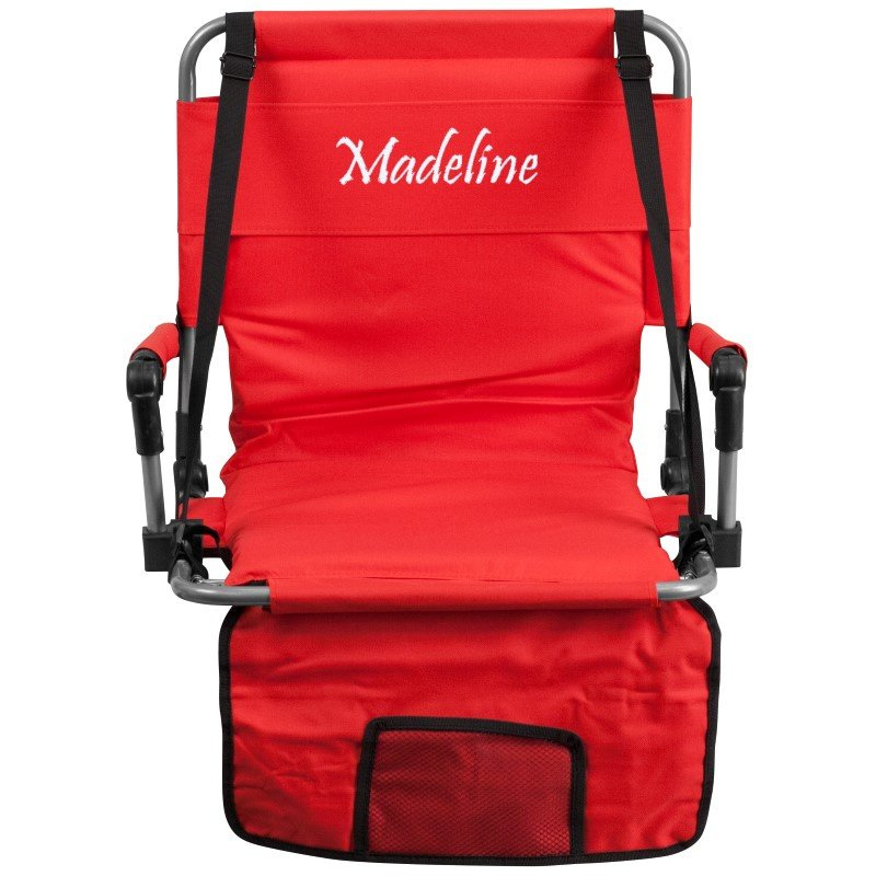 Flash Furniture Embroidered Folding Stadium Chair in Red