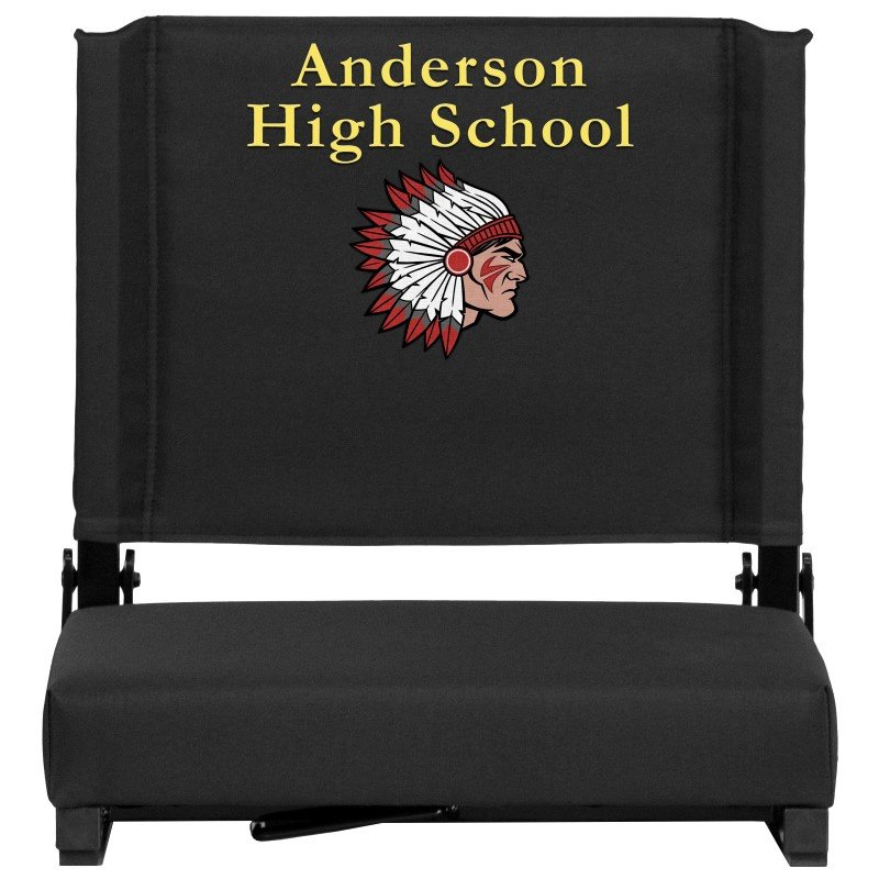 Flash Furniture Embroidered Game Day Seats by Flash with Ultra-Padded Seat in Black