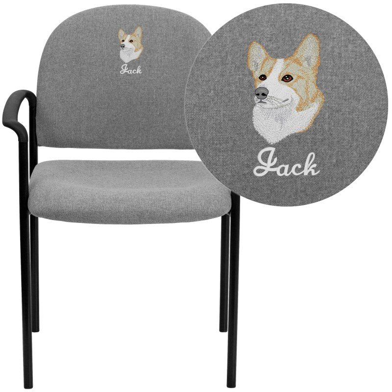 Flash Furniture Embroidered Gray Fabric Comfortable Stackable Steel Side Chair with Arms (BT-516-1-GY-EMB-GG)