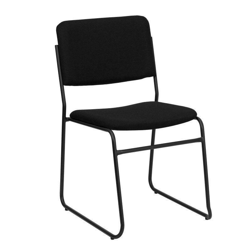 Flash Furniture Embroidered HERCULES Series 1000 lb. Capacity High Density Black Fabric Stacking Chair with Sled Base (XU-8700-BLK-B-30-EMB-GG)