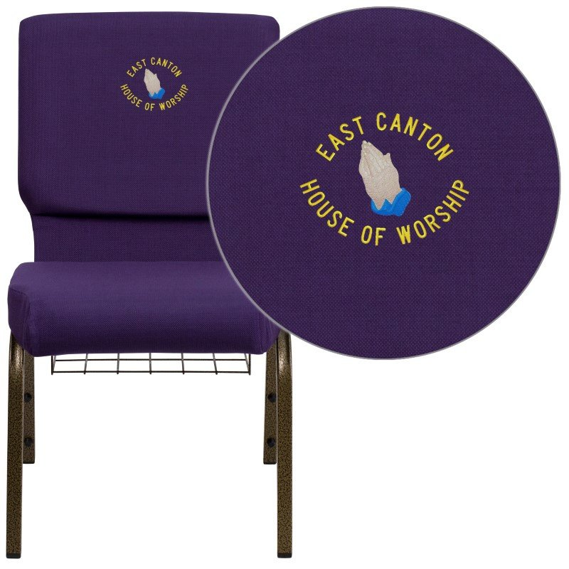 """Flash Furniture Embroidered HERCULES Series 18.5""""W Royal Purple Fabric Church Chair with 4.25"""" Thick Seat' Communion Cup Book Rack in Gold Vein Frame"""