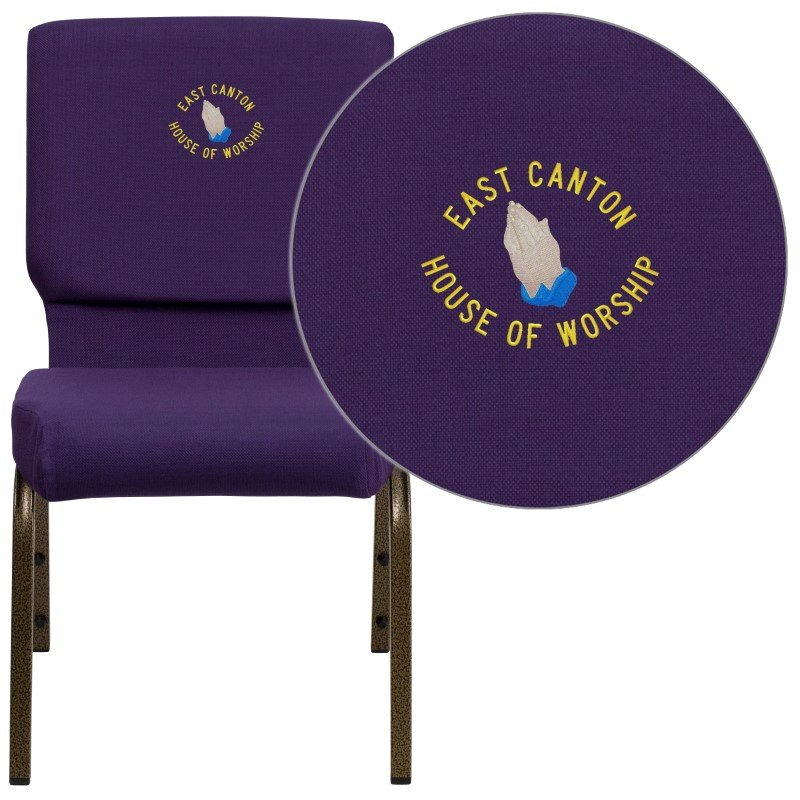 Flash Furniture Embroidered HERCULES Series 18.5''W Royal Purple Fabric Stacking Church Chair with 4.25'' Thick Seat in Gold Vein Frame