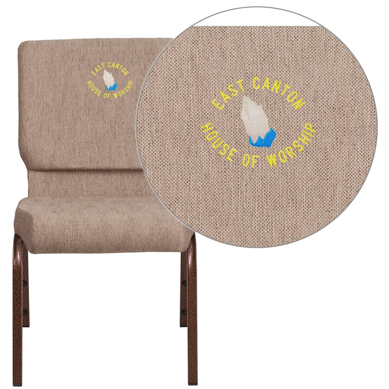 "Flash Furniture Embroidered HERCULES Series 18.5""W Beige Fabric Stacking Church Chair with 4.25"" Thick Seat (FD-CH02185-CV-BGE1-EMB-GG)"