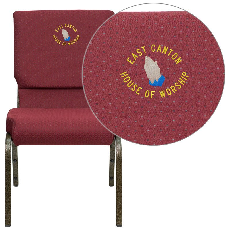 """Flash Furniture Embroidered HERCULES Series 18.5""""W Burgundy Patterned Fabric Stacking Church Chair with 4.25"""" Thick Seat (XU-CH-60096-BYXY56-EMB-GG)"""