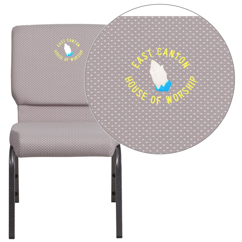 """Flash Furniture Embroidered HERCULES Series 18.5""""W Gray Dot Fabric Stacking Church Chair with 4.25"""" Thick Seat (FD-CH02185-SV-GYDOT-EMB-GG)"""