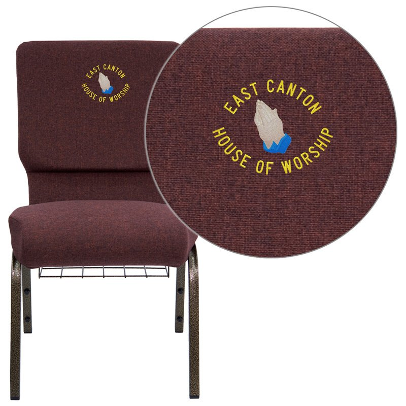"""Flash Furniture Embroidered HERCULES Series 18.5""""W Plum Fabric Church Chair with 4.25"""" Thick Seat - Gold Vein Frame (FD-CH02185-GV-005-BAS-EMB-GG)"""