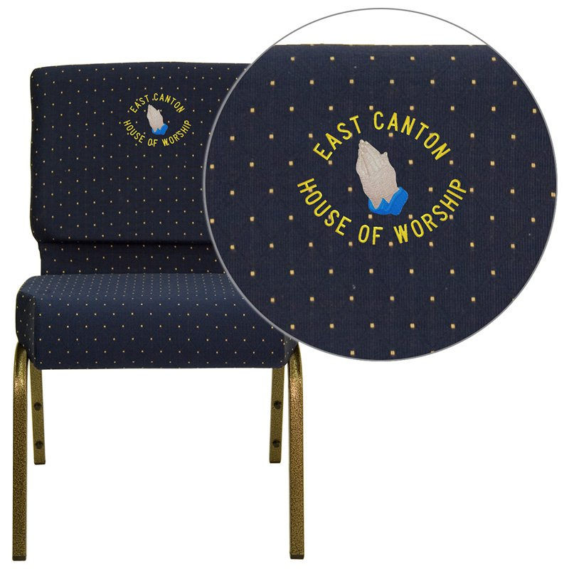 """Flash Furniture Embroidered HERCULES Series 21"""" Extra Wide Navy Blue Dot Patterned Fabric Stacking Church Chair (FD-CH0221-4-GV-S0810-EMB-GG)"""