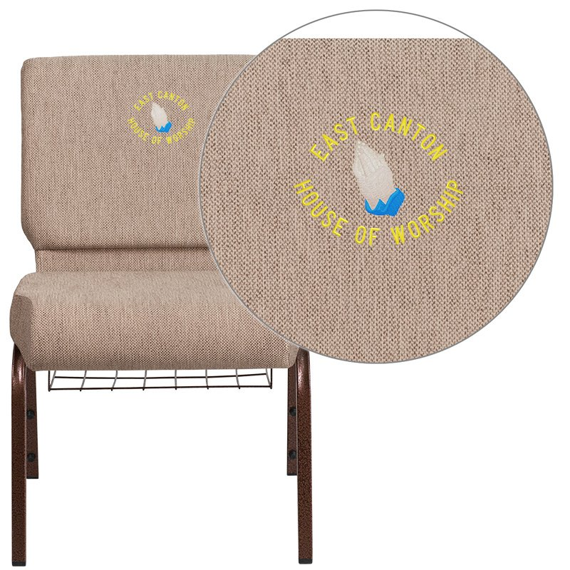 """Flash Furniture Embroidered HERCULES Series 21"""" Wide Beige Fabric Church Chair with 4"""" Thick Seat - Book Rack (FD-CH0221-4-CV-BGE1-BAS-EMB-GG)"""
