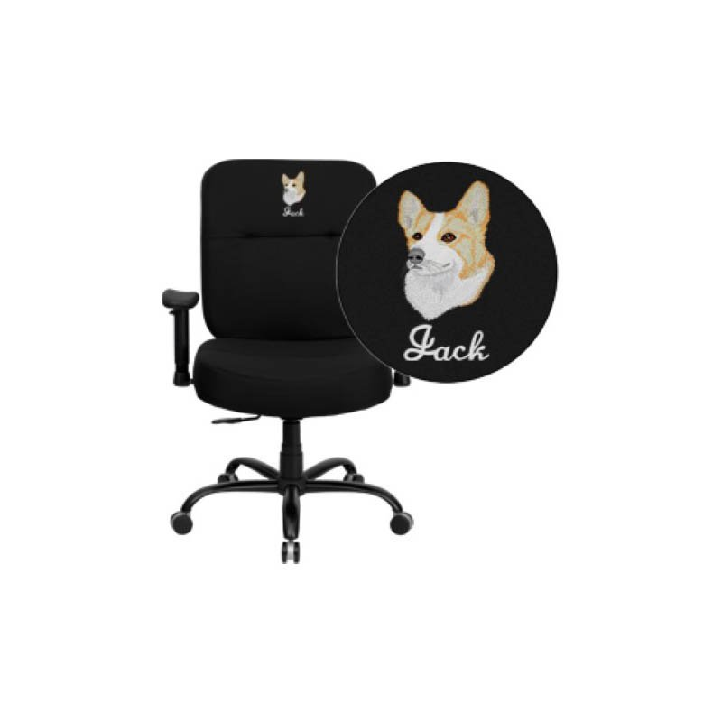 Flash Furniture Embroidered HERCULES Series 400 lb. Capacity Big & Tall Black Fabric Executive Swivel Office Chair (WL-735SYG-BK-A-EMB-GG)