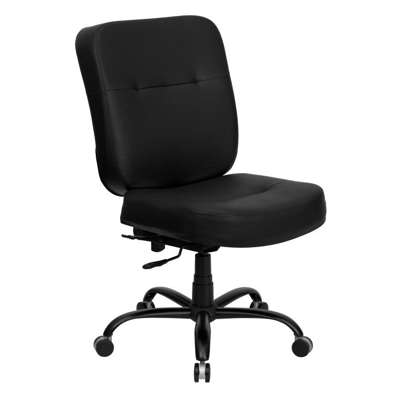 Flash Furniture Embroidered HERCULES Series 400 lb. Capacity Big & Tall Black Leather Executive Swivel Office Chair (WL-735SYG-BK-LEA-EMB-GG)