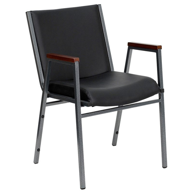"""Flash Furniture Embroidered HERCULES Series Heavy Duty - 3"""" Thickly Padded - Black Vinyl Stack Chair with Arms (XU-60154-BK-VYL-EMB-GG)"""
