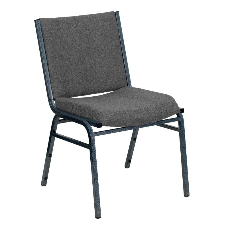 """Flash Furniture Embroidered HERCULES Series Heavy Duty - 3"""" Thickly Padded - Gray Upholstered Stack Chair with Ganging Bracket (XU-60153-GY-EMB-GG)"""