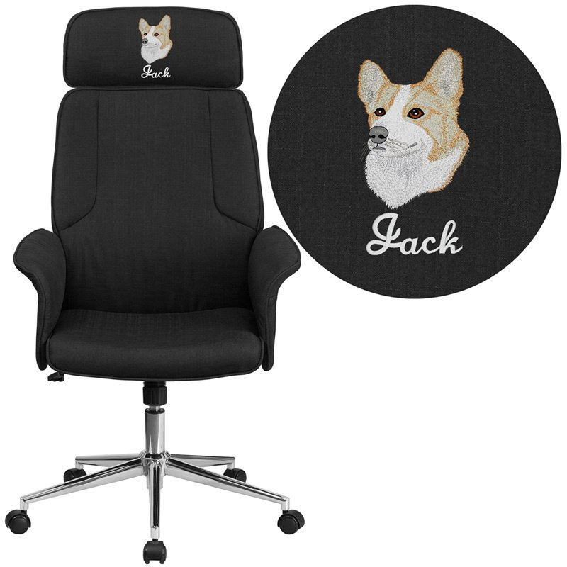 Flash Furniture Embroidered High Back Black Fabric Executive Swivel Chair with Chrome Base and Fully Upholstered Arms (CH-CX0944H-BK-EMB-GG)